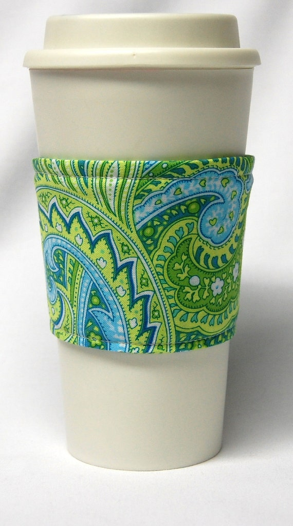 Coffee Cozy/ Cup Sleeve Eco Friendly Slip-on: Green, Blue and Teal Paisley -LAST ONE AVAILABLE