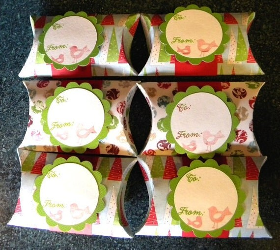 Pillow boxes set of 6: Christmas birds