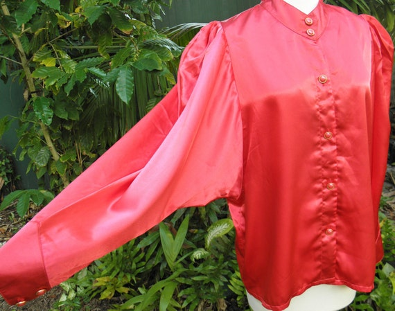 Cherry Red Vintage 1980s Ladies Satin Shirt with red & gold Buttons Size M 12-14