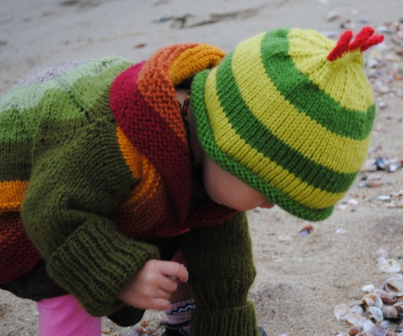 Green Dinosaur Striped  Baby Hat