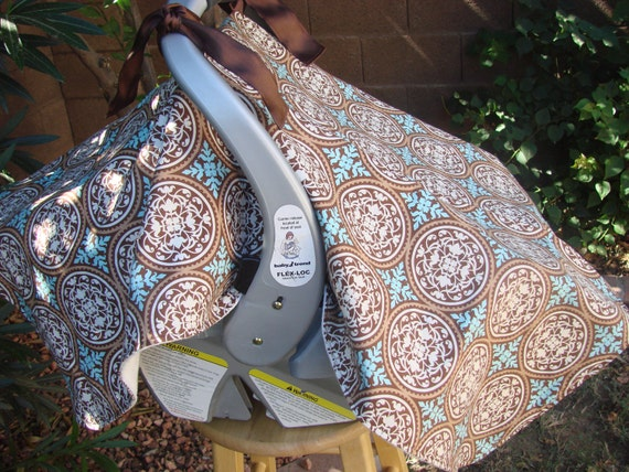 Baby Car Seat Cover Teal, Brown and Cream Scroll work