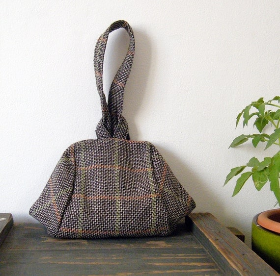 Brown and grey tartan evening bag