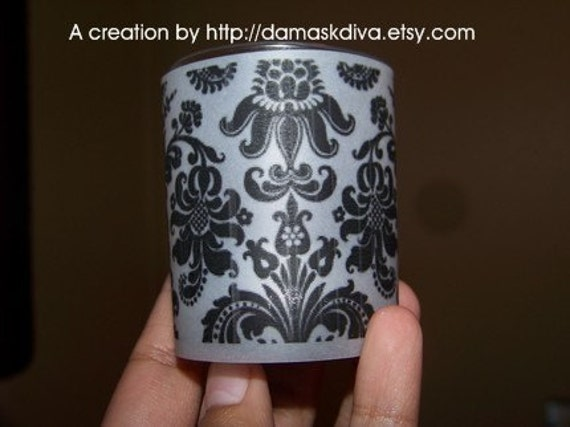 1 set of 10 damask print votive candle wraps for wedding home decor