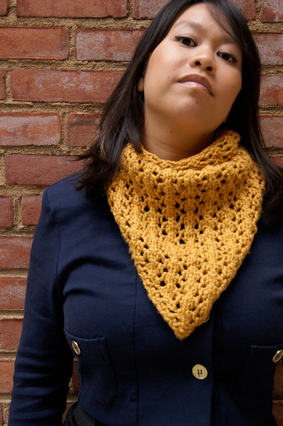 The Columbia Heights Scarf - Mustard. Modern ECO-FRIENDLY organic cotton kerchief scarf non-wool