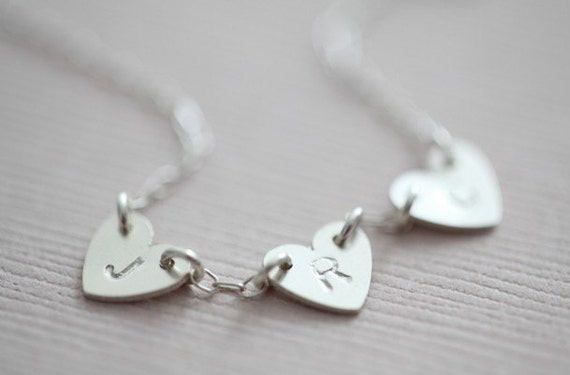 Silver initial tiny heart necklace - 3 heart pendants - MADE TO ORDER