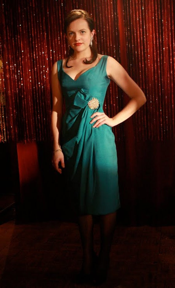 Peggy Olsen-Evening Dress-Mad Men-Teal-Custom Sized to Fit