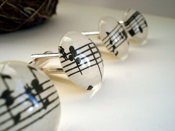 Music cuff links recycled books black and white glass silver Bach