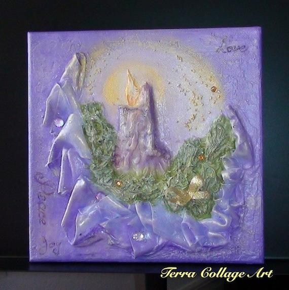 Фиолетовый Свеча Оригинальное Смешанные Art Media (под заказ)