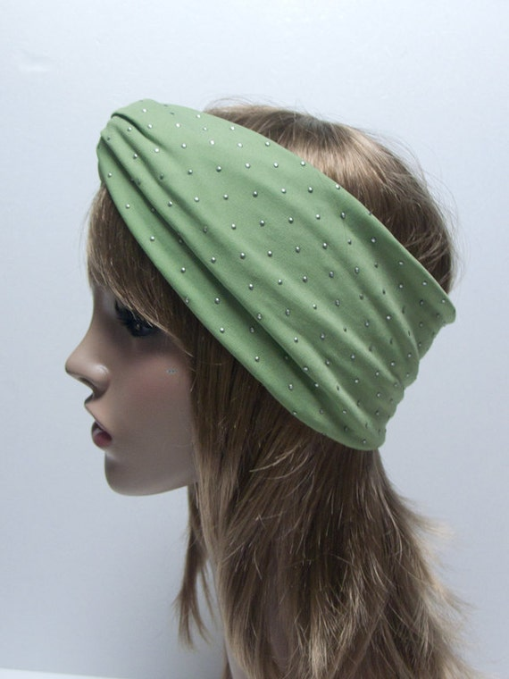 20 OFF-MINT GREEN/studded Jersey Twist Turban headband