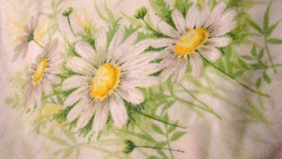 Vintage Daisies Daisy Twin Flat Sheet / Reclaimed Bed Linens