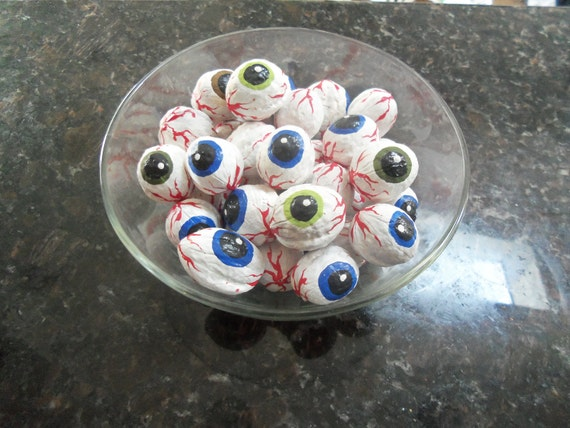 Organic English Walnut Hand-painted Eyeballs - Spooky Halloween Decoration-  Bag of eight-
