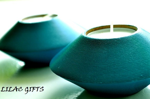 Wooden Candle Holder tea light teal blue color set of 2