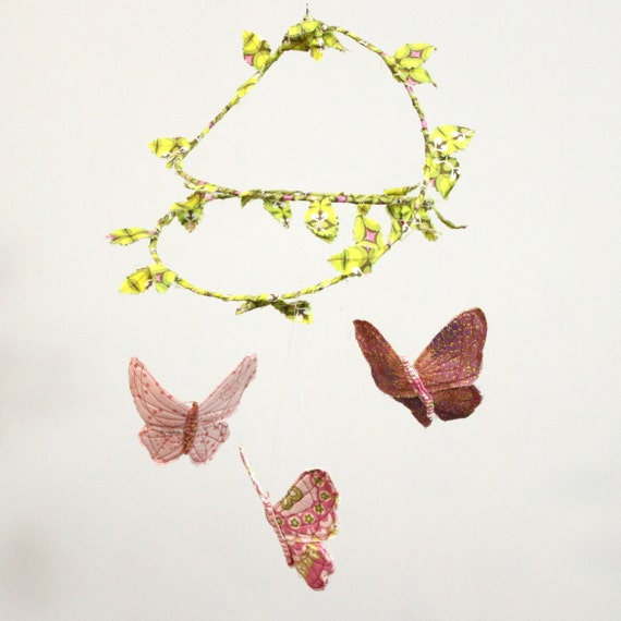 Nursery Mobile - Butterfly Ballet - handmade fabric mobile for nursery decor in rose pink, lilac, snow white, bright green