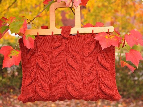 15% OFF - Прогулка среди деревьев - дизайнер листовые сумочка с деревянными ручками в оранжевый - эко-мода