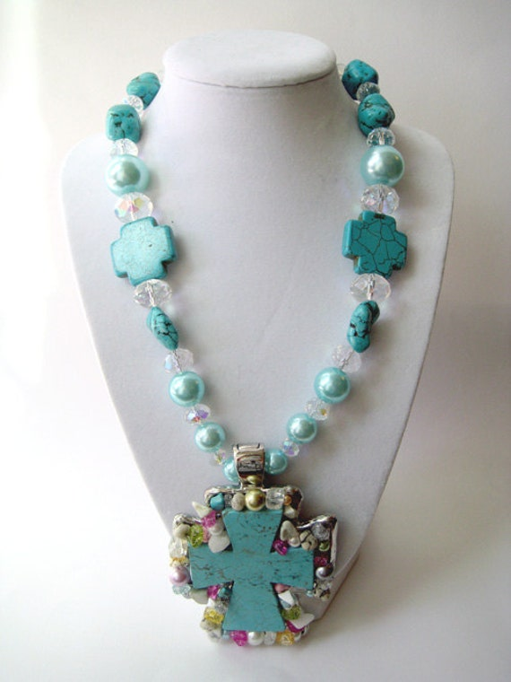PASTEL RODEO: Chunky turquoise and pastel pearl & crystal necklace with extra large, magnetic turquoise cross pendant