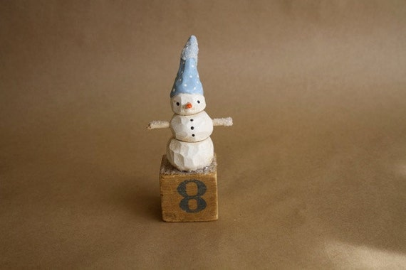 Blue hat snowman on antique toy block by Trieste Prusso Vintage inspired folk art