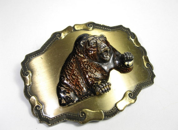 Vintage Raintree, Enameled Brass, Grizzly Bear, Belt Buckle, 1970's