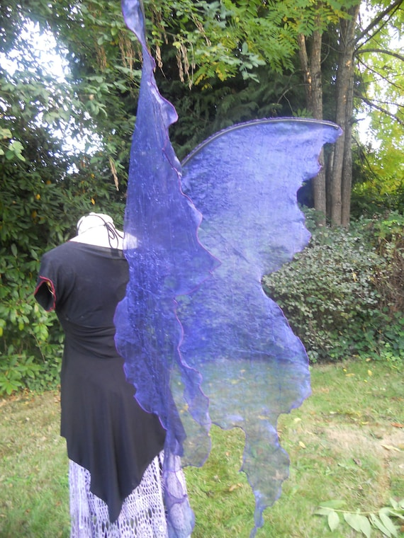Dark COBALT BLUE HUGE Lifesize Gothic Fairy Queen Wings Adult Costume xl dress up wicca Dark angel gypsy steampunk Boho emo larp realistic