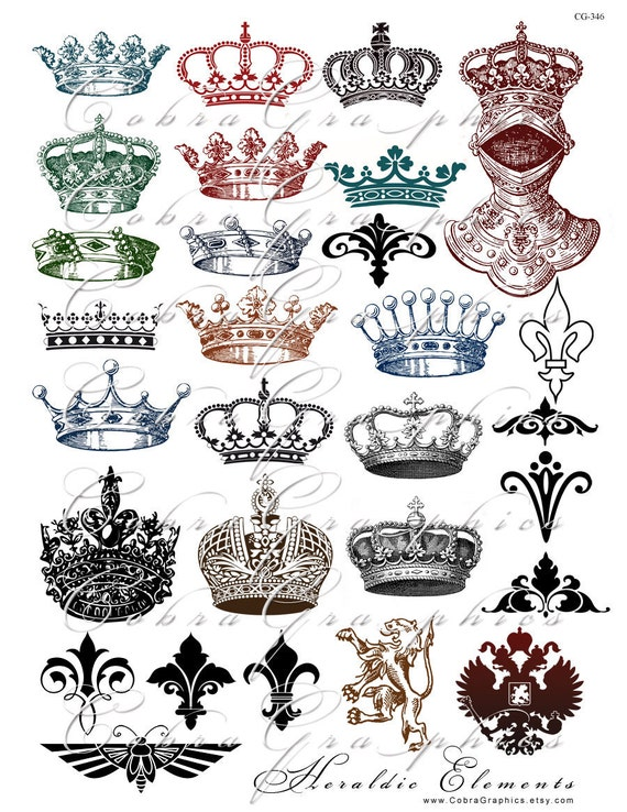 Crowns and Heraldic Elements - Digital Collage Sheet CG-346 for Crafts Scrapbooking Gift Cards Tags Magnets Iron On Transfers PNG