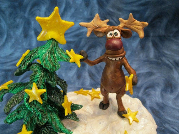 Star Light Reindeer Tree Polymer Clay Sculpture