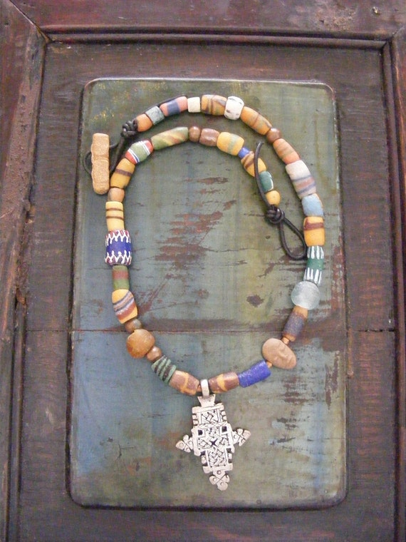 Ethiopian Coptic Cross African Trade Bead Necklace