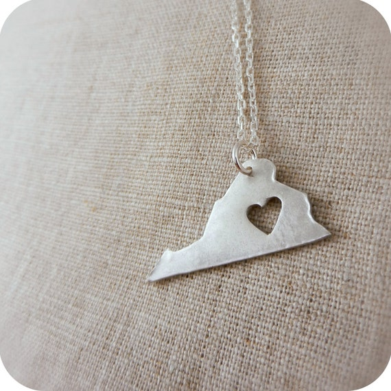 Virginia State Necklace - Sterling Silver Necklace - Pendant with Heart Silhouette -