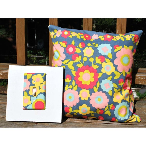 Light Switch Plate Cover and Pillowcase Set - gray with colorful flowers, gift set, wall decor, home decor