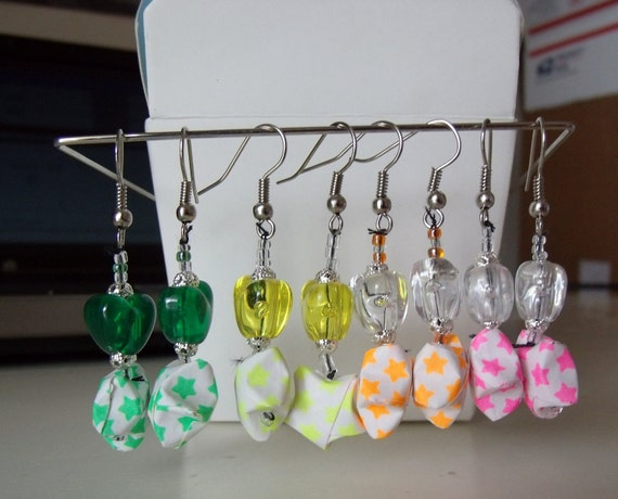 Rave KANDI Earrings Heart Star NEON Origami Lucky Wishing Stars Pony Beads Emo Scene Candy