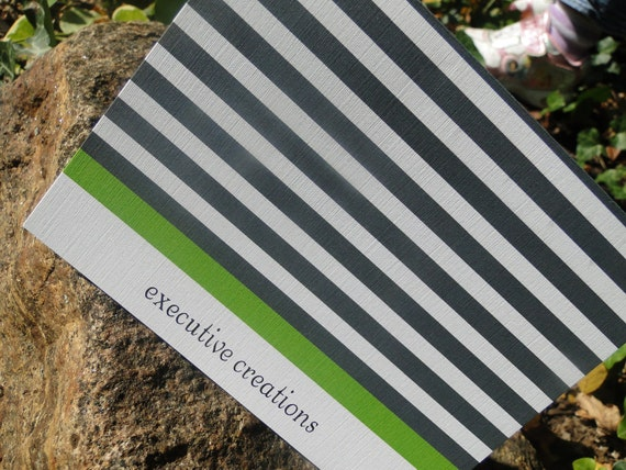 Striped Green and Gray Custom Note Cards (set of 10)