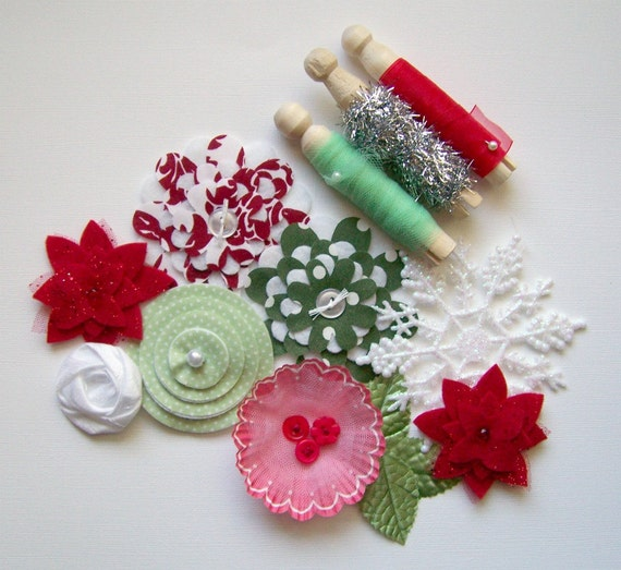 Very Merry - November Sampler - Assorted Handmade Embellishments