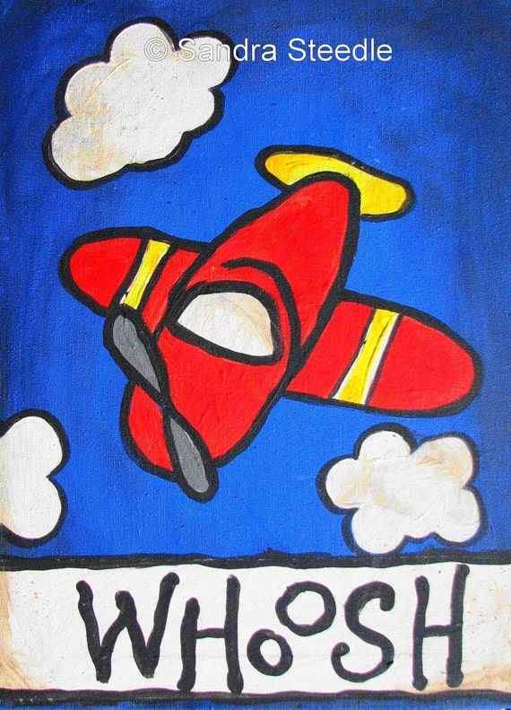 Children Decor,  RED PLANE PRINT, 8 x 10, nursery decor, kid, wall art, red,blue, colors, boy, playroom