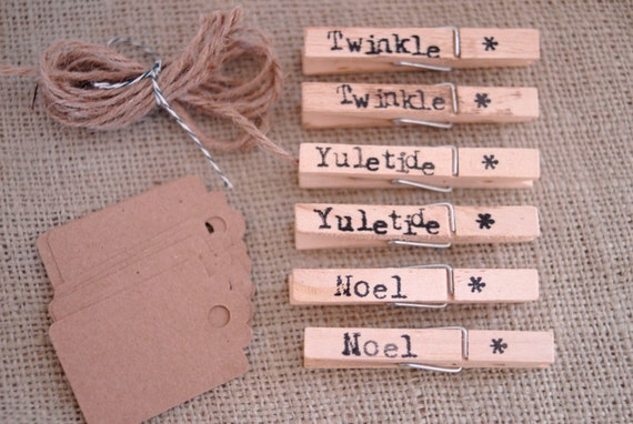 Hand-Stamped Holiday Tag Set, set of 6