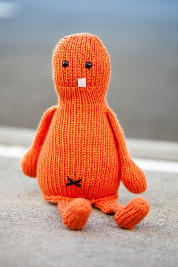 Claude the Hand-Knit Stuffed Amigurumi Monster
