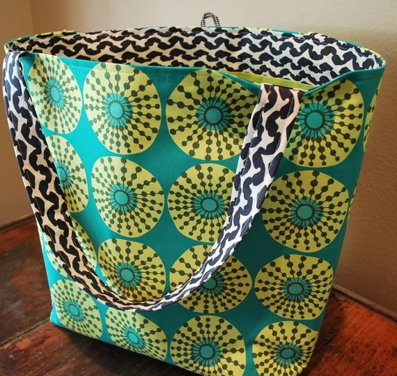 Design Your Own Reusable Grocery Bag Tote - Fabric Tote Bag - Amy Butler Market Bag