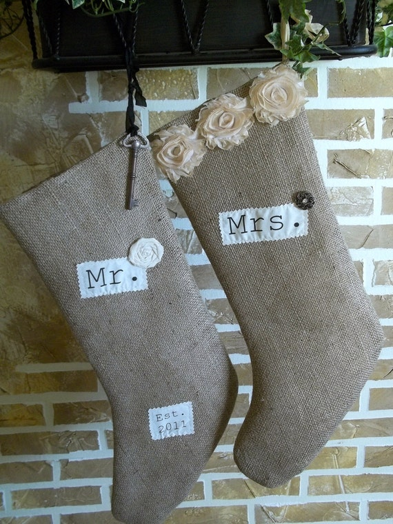 Personalized - French Chic Burlap Christmas Stocking - Mr. and Mrs. Est. Date