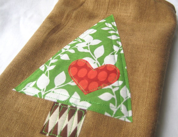 Christmas Stocking - Tree on Linen
