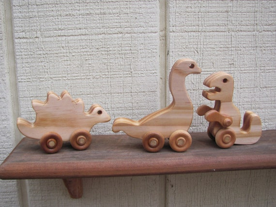 mini wooden dinosaur toy 3 pack