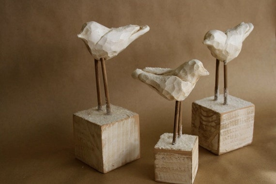 Snow Birds- a flock of 3 Unique Holiday Figurine- Modern Vintage Folk Art