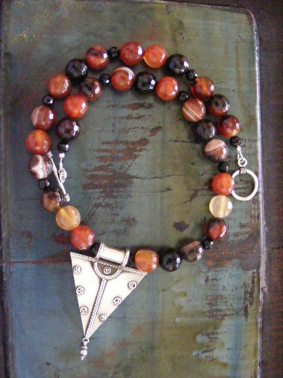 Tibetan Sterling Carnelian Agate Necklace