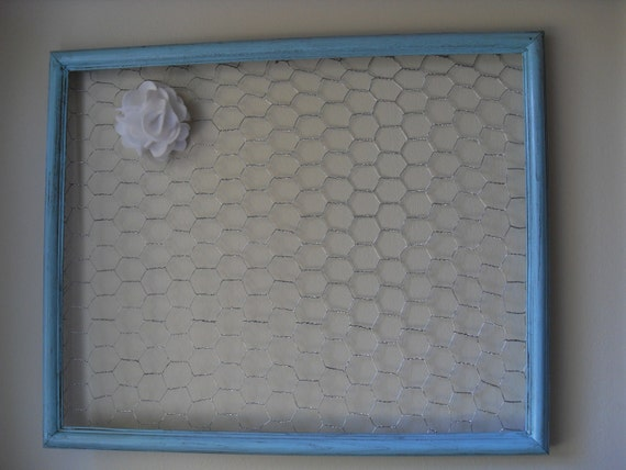 Aqua blue Chicken Wire Memo Board