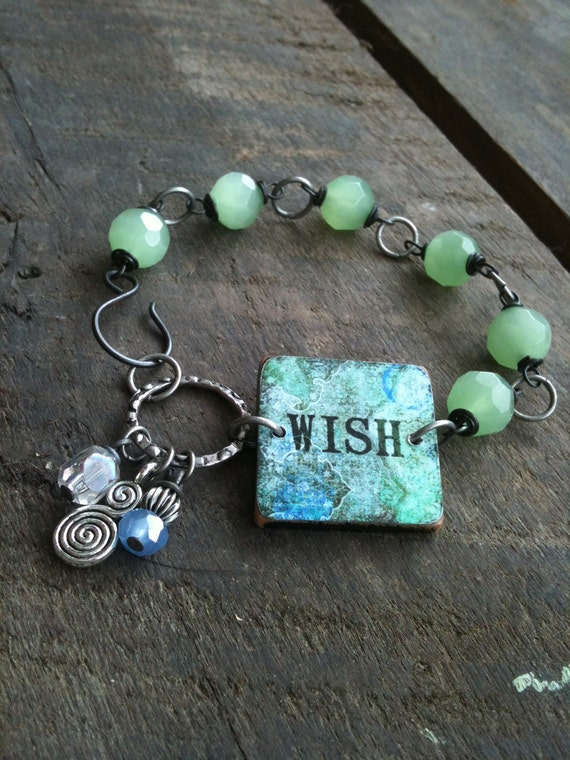 WISH - Ephemera Wood Tile Bracelet