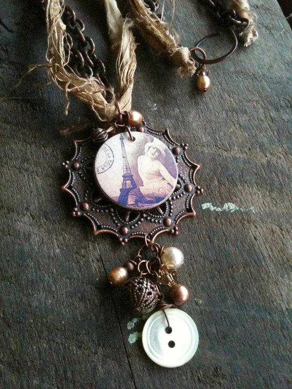 Wood Ephemera Tile and Copper Filigree Pendant Necklace - Paris - Design Challenge