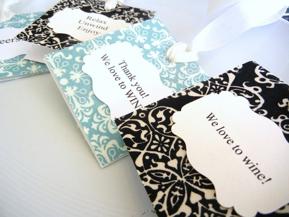 Personalized Gift Tags Wine Bottles Fabric  Damask Fabric set of 4