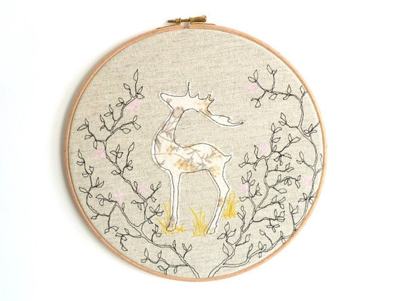 "Embroidery Hoop Art - Reindeer Textile illustration in gold, pink & brown - large 10"" hoop"