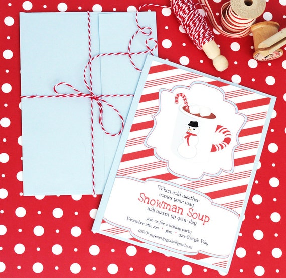 Snowman Soup / Hot Chocolate Printable Party Set