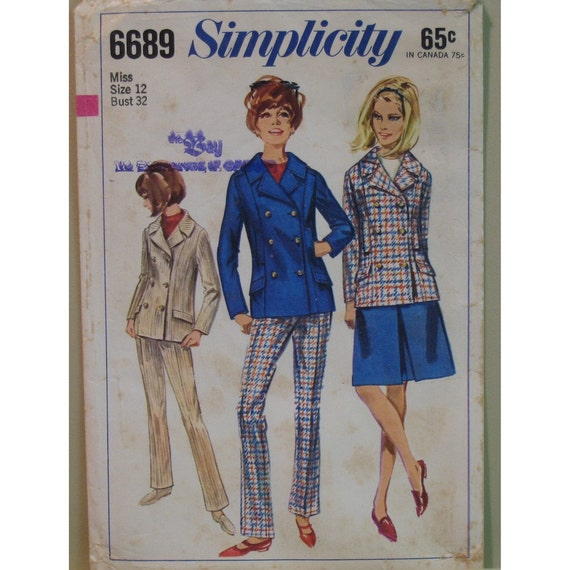 "Vintage 1960s Pea Coat Pattern, Skirt and Pants  Simplicity No. 6689 Size 12 (Bust 32"" 82cm)"