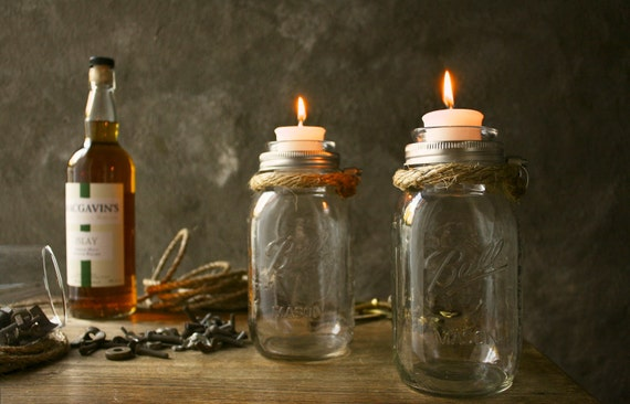 Pair of Mason Jar Candle Holders Rustic Wedding Decor Glass Lighting Shabby Chic Lighting - Rustic Rope Design
