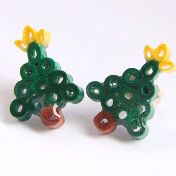 Christmas Tree Earrings Small Handmade by Paper Quilling