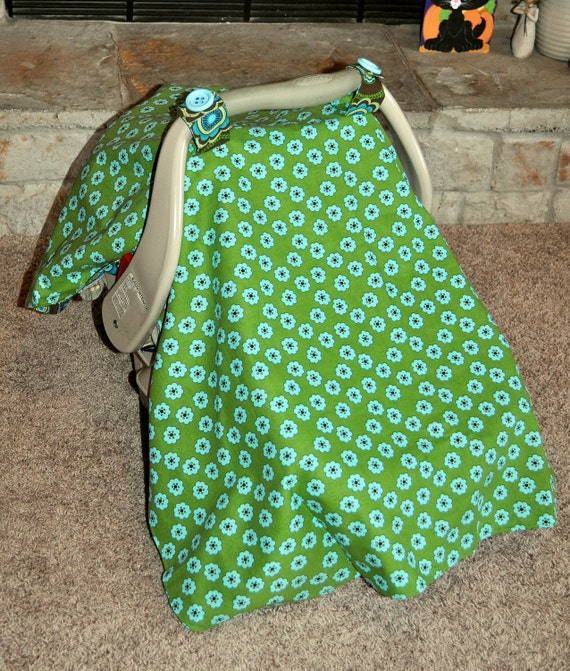 Retro Flowers in Blue, Brown & Green Reversible Infant Carseat Cover Tent Canopy - READY TO SHIP