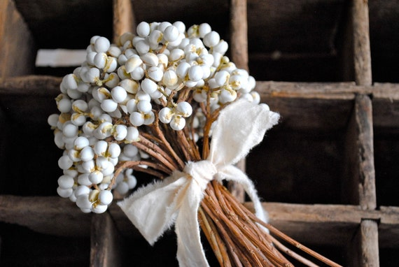 White Tallow Berry Bouquet - Hand Tied - Bridal - Wedding - Home Decor